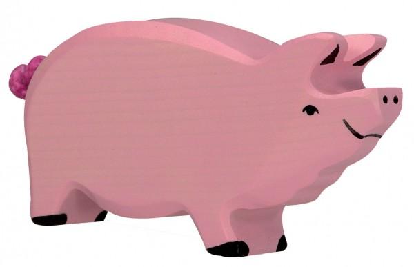 Eber Bauernhof Holzfigur Schwein Holzspielzeug von Holztiger