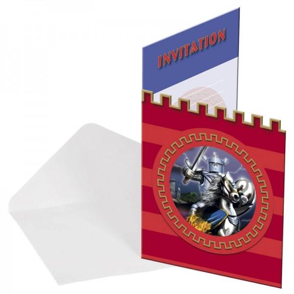 Ritterparty schwarzer Ritter 8 Einladungskarten