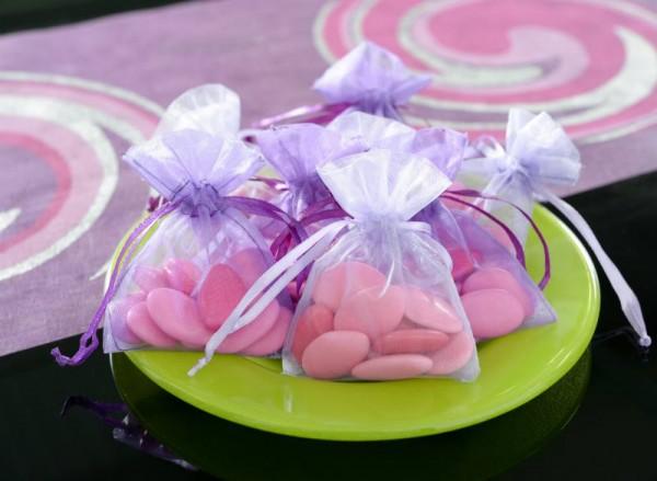 Organzabeutel Organzasäckchen violett 7,5cm x 10cm für Hochzeitsmandeln und Gastgeschenke 10 Stück