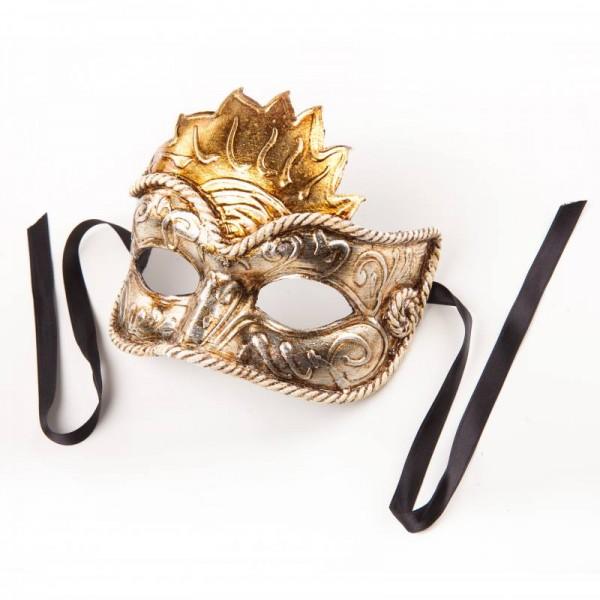Venezianische Maske Civetta Sole Silber Gold