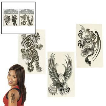 Tattoo 4 verschiedene Motive Tiger Adler Drache Schlange