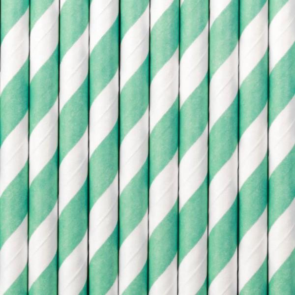 Trinkhalme Türkisblau und Weiß gestreift aus Pappe Strohhalme 10 Stück