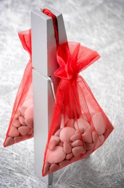 Organzabeutel Organzasäckchen rot 12cm x 17cm für Hochzeitsmandeln und Gastgeschenke 6 Stück