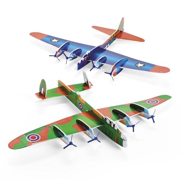 Styroporflieger Gleiter Bomber XXL 43cm Spannweite 2 Motive 12 Stück