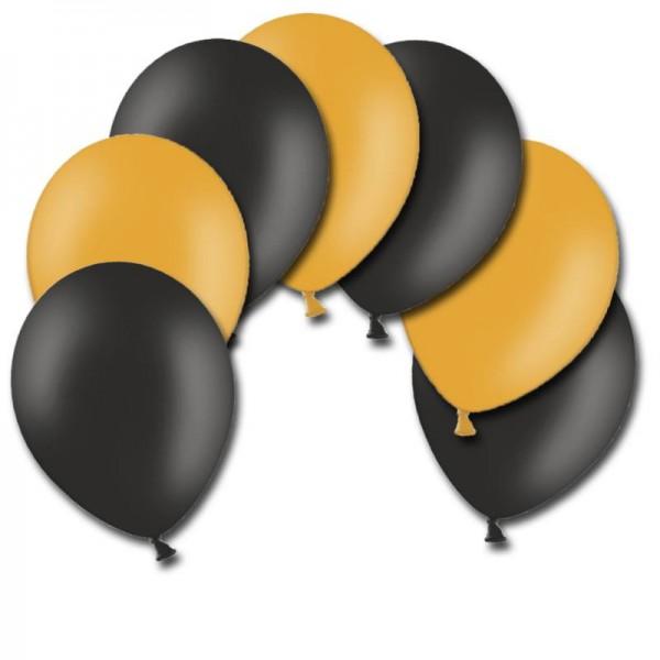 Halloween Luftballons Orange und Schwarz 28cm Durchmesser 10 Stück