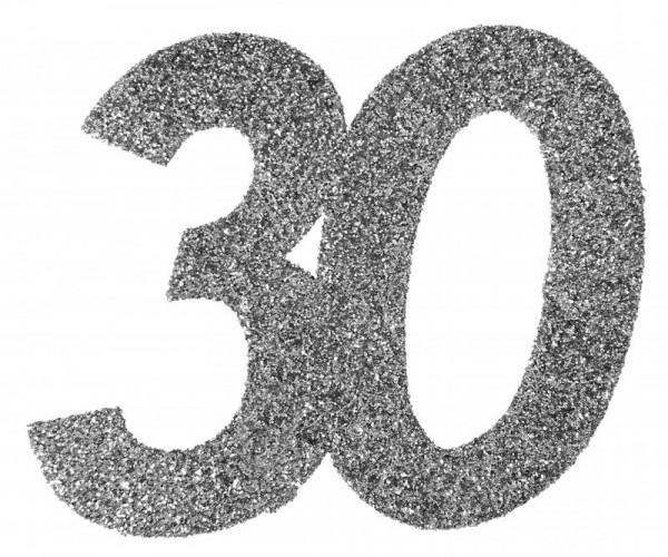 """XXL Geburtstags Konfetti Zahl """"30"""" silber glitzernd 6 Stück"""