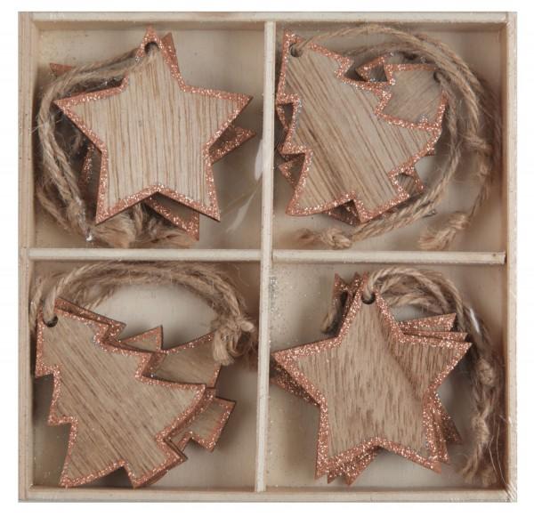 Weihnachtsdeko Platzkarte Namensschild Geschenkanhänger aus Holz mit Orange Glitter
