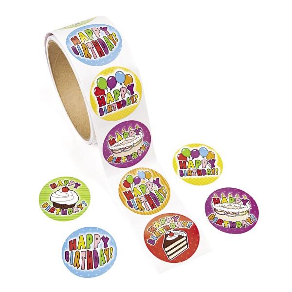 Happy Birthday Aufkleber Sticker 100 Stück