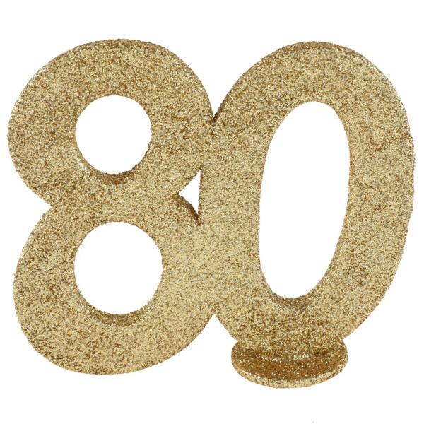 XXL Tischdeko Zahl 80 Geburtstag Gold Glitzer 1 Stück