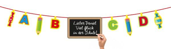 Einschulung Schulanfang Kindergeburtstag Girlande zum beschriften