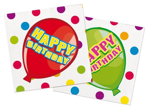 Happy Birthday Servietten mit bunten Luftballons 16 Stück