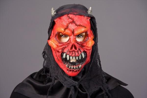 Halloween Maske Teufel, Teufelsmonster mit Kaputze