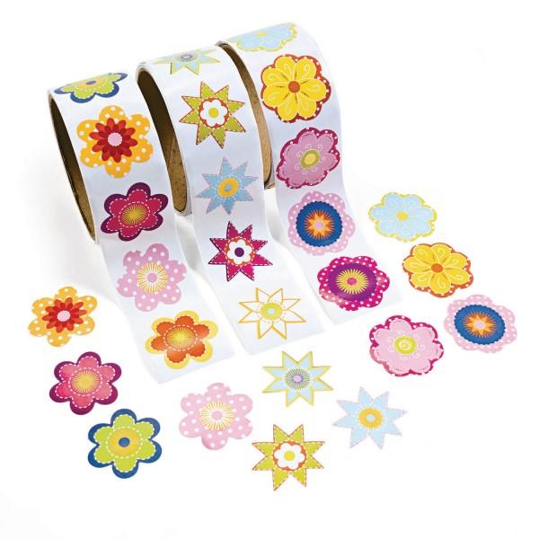 Bunte Blumen Flower Power Aufkleber Sticker 300 Stück