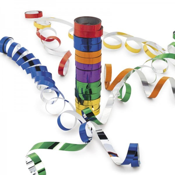 Luftschlangen in verschiedenen Farben mit metallischer Optik für Silvester Partydekoration AUSVERKAU