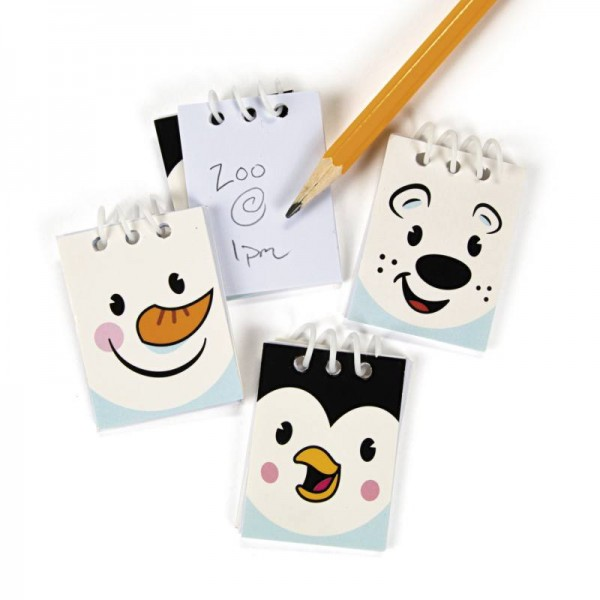 Mini Weihnachts Notizzettel Notizblock Schneemann Eisbär Pinguin 12 Stück