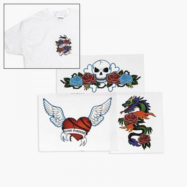 Bügel Tattoo für T-Shirts, 12 Stück mit 4 Motiven