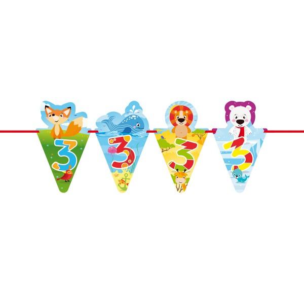 Wimpelkette 3. Geburtstag lustige Tiere