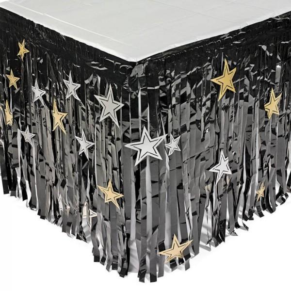Silvester Tischumrandung schwarz mit silbernen und goldenen Sternen Tischdeko 2,74m