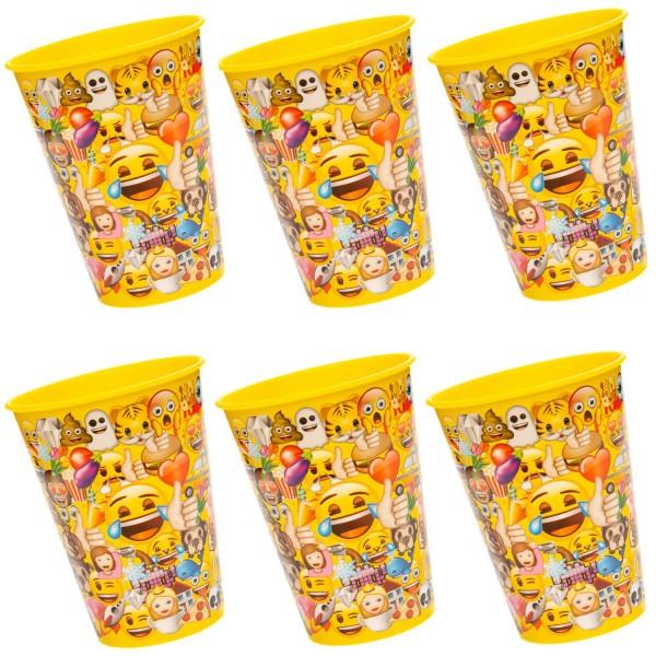 Lustige Emoji Kunststoff Becher 6 Stück
