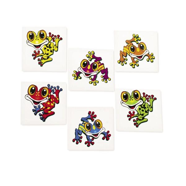 Kinder Tattoo Frosch 36 Stück in 6 Motiven