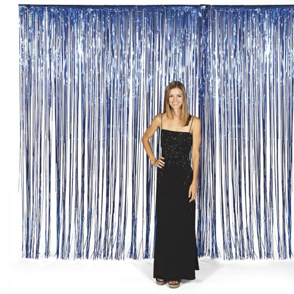 Vorhang blau metallic Streifenvorhang Türvorhang Raumdekoration