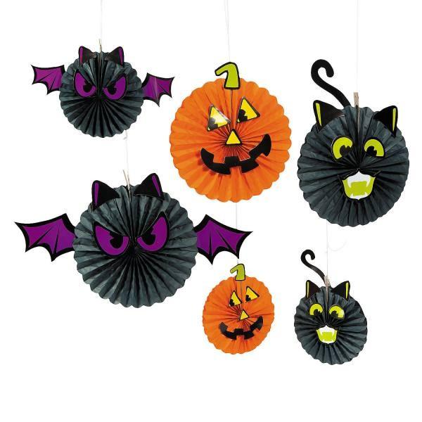 Halloween Deckendeko mit Fledermaus Kürbis Katze Motiv 6 Stück