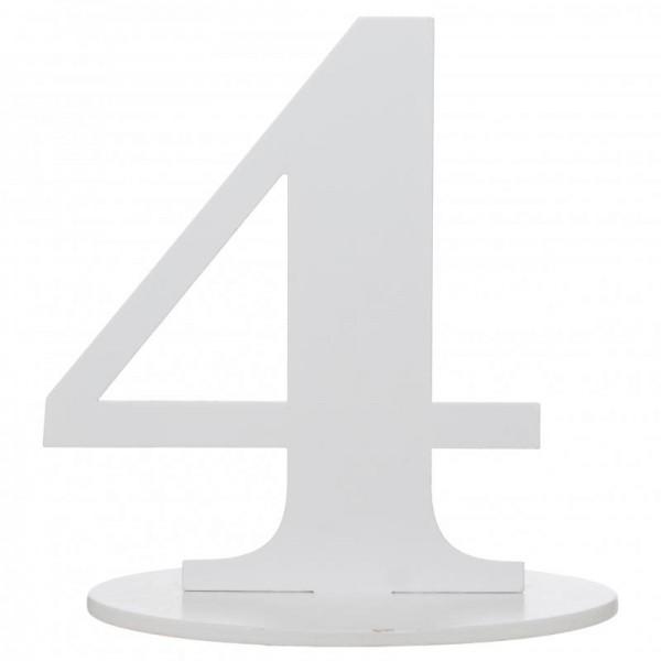 XXL Tischdeko Tisch-Zahl 4 aus Holz in Weiß Geburtstag 1 Stück