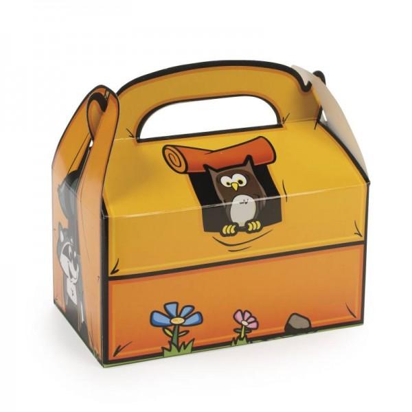 Faltbox mit Eule und Dachs für Gastgeschenke und Mitgebsel 6 Stück