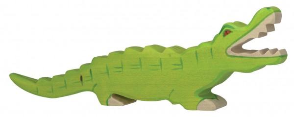 Krokodil Safari Holzfigur Alligator Holzspielzeug von Holztiger