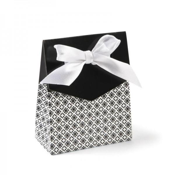 Geschenkboxen Faltboxen Schwarz mit Schleife 12 Stück