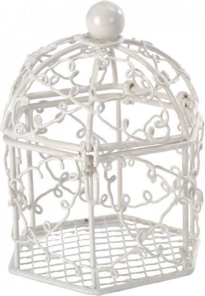 Käfig als Namensschild für Hochzeitsmandeln in weiß lichtgrau 2 Stück