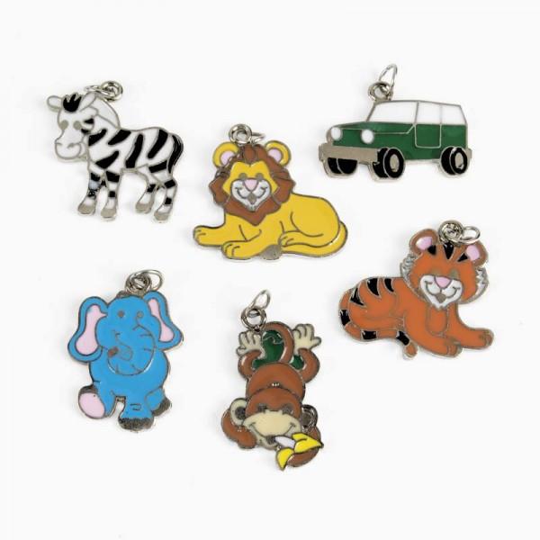 Safari Anhänger 36 Stück, Löwe, Tiger, Affe, usw