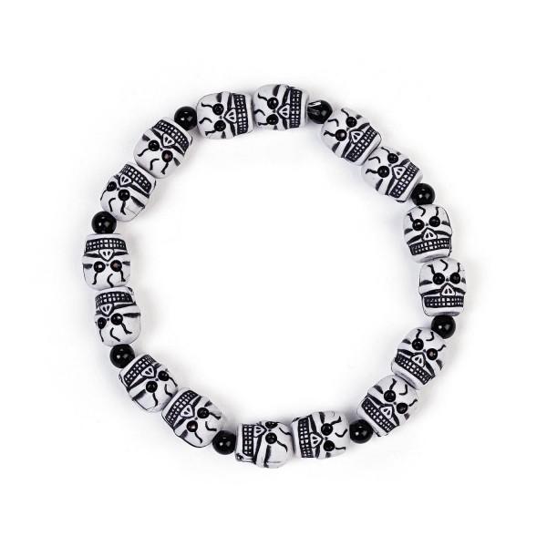Piraten Totenkopf Armband mit Gummizug 6 Stück