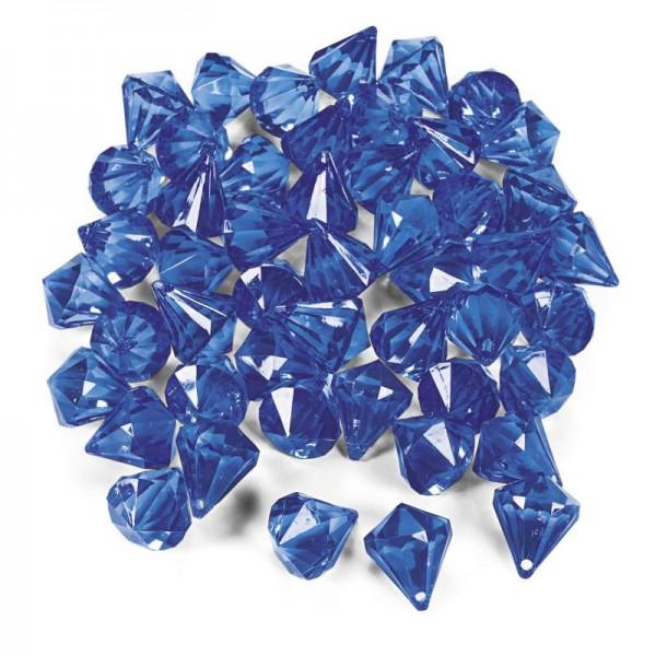 Dekosteine Diamanten aus Plastik blau dunkelblau Tischdeko Streuteile 25 Stück