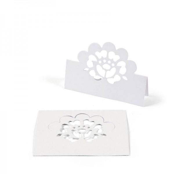 Platzkartenhalter Namensschild mit Blumenmotiv Weiß 12 Stück