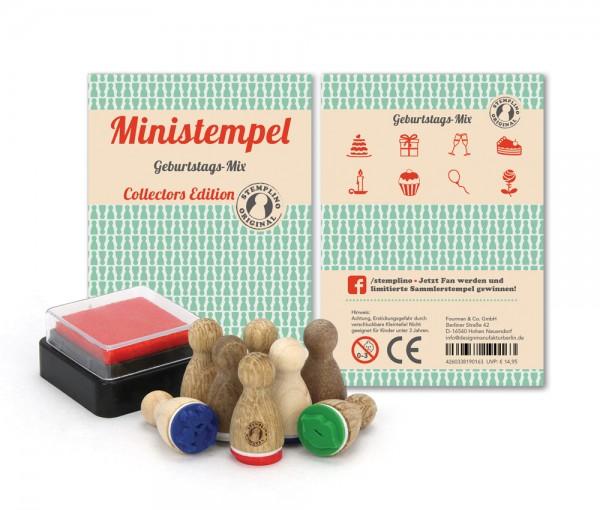 Holz-Stempel Geburtstags Mix 8 Stück mini
