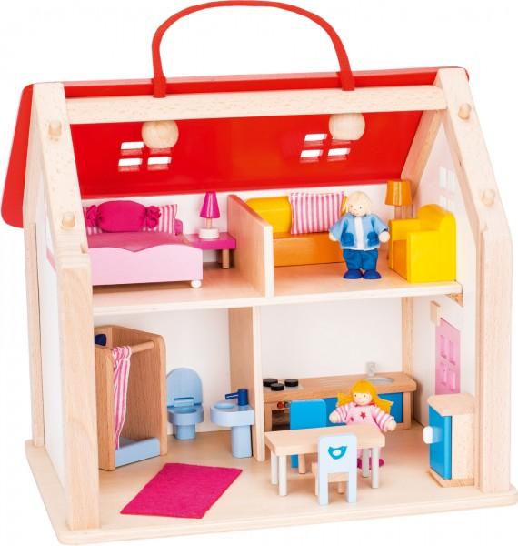 Puppenhaus Puppenstube mit Einrichtung und Puppen zum mitnehmen von goki