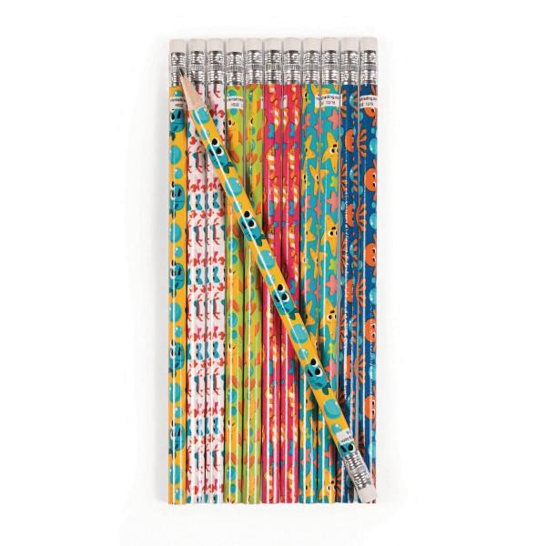 Meerestiere Bleistifte mit Radiergummi 12 Stück