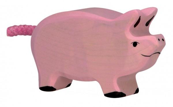 Ferkel Bauernhof Holzfigur Schwein Holzspielzeug von Holztiger
