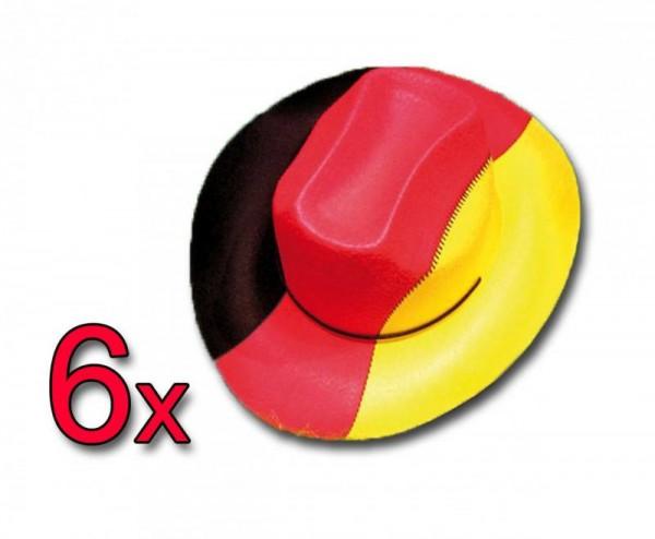 Deutschland Cowboyhut in Deutschland-Farben 6 Stück