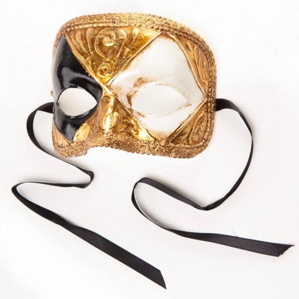 Venezianische Maske Domino Scacchi Gold Weiß Schwarz