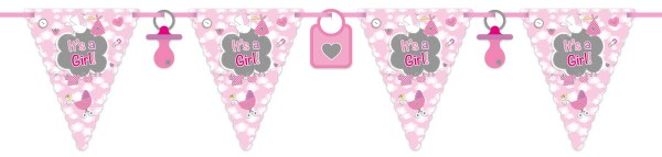 Babyshower Wimpelkette It's a Girl rosa Babyparty Banner