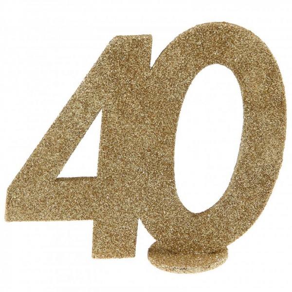 XXL Tischdeko Zahl 40 Geburtstag Gold Glitzer 1 Stück