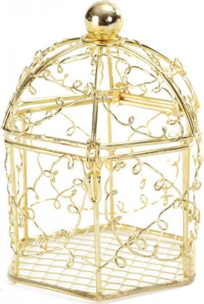 Käfig als Namensschild für Hochzeitsmandeln in gold 8 Stück