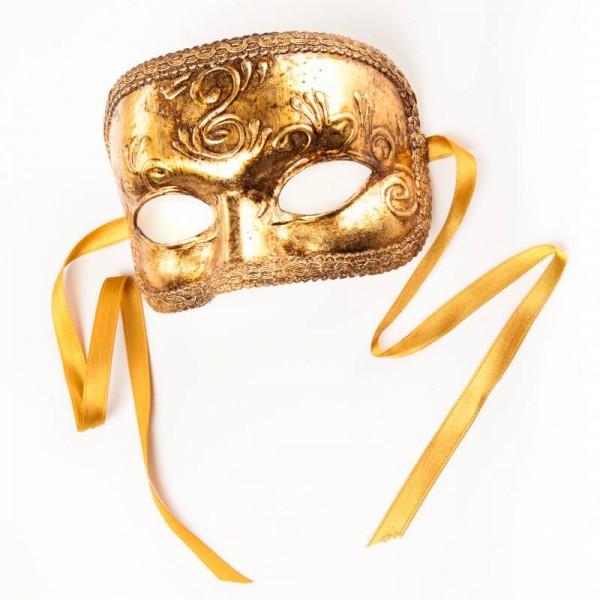 Venezianische Maske Domino Foglia Gold