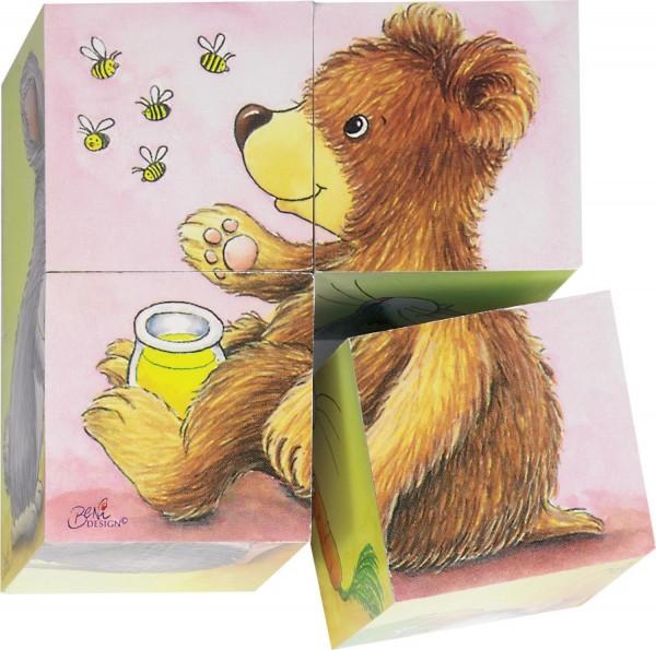 Würfel-Puzzle Tierkinder mit 4 Teilen und 6 Motiven