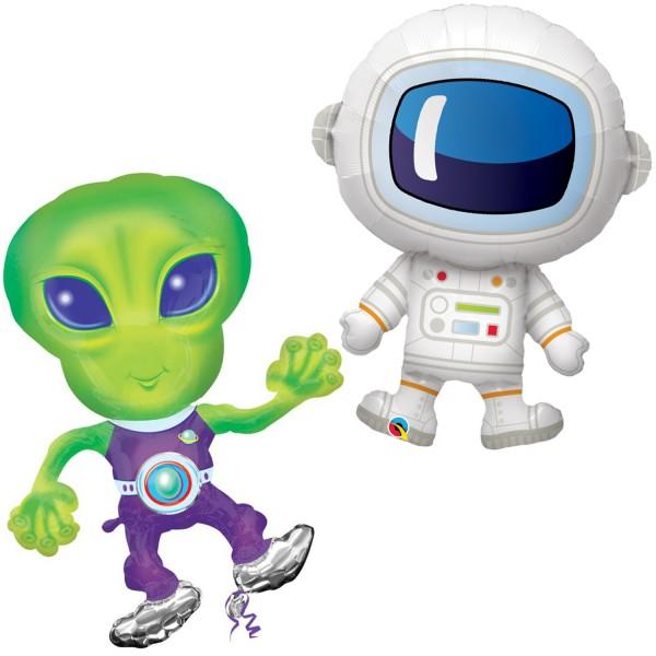 Folienballons Weltraum Space Astronaut und Alien 2 Stück