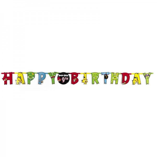 "Angry Birds Buchstabengirlande Banner ""Happy Birthday"""