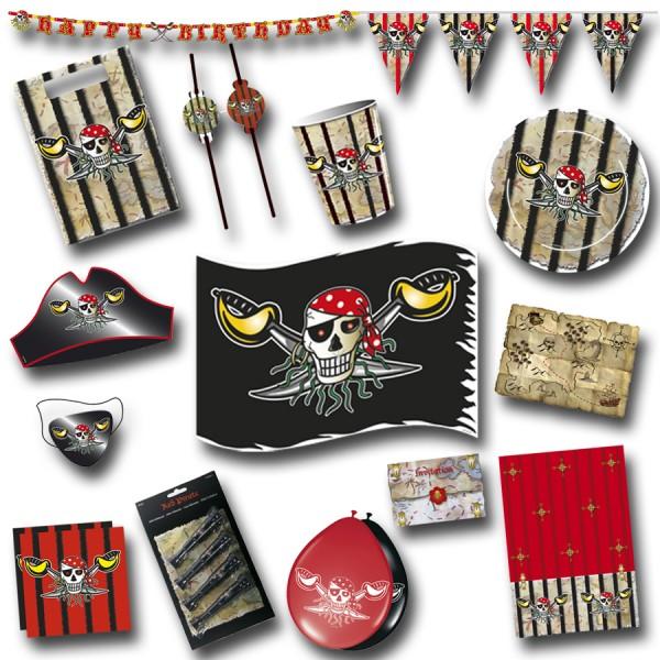 Piraten Party-Set E roter Pirat mit 92 Teilen