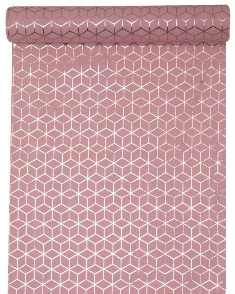 Tischläufer Rosa Rose mit Kupfer Muster aus Baumwolle